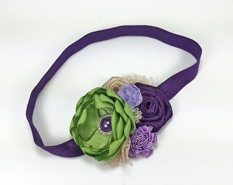 Purple Green Headband for Girls - Satin Chiffon Rose Flowers Hair Clip - Photo Prop Shower Gift, Flower Girl in Wedding or Easter Prop