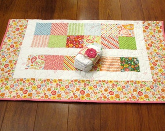 "30% off SALE Riley Blake My Sunshine Pink, Green, Blue and Red Baby or Toddler Girl Quilt--40"" x 48"" with Matching Diaper Strap"