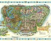 1962 DISNEYLAND PARK Map POSTER | 24 x 36 Inch | Disneyland | Disney World | Mickey mouse | Movie Poster