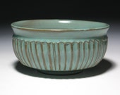 Bowl Serving Pottery Ceramic Turquoise Rustic Nutmeg Brown Clay