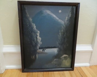Vintage Original Painting / Primitive Black and White / Mount Rainier At Moonlight / 15 by 19 fr