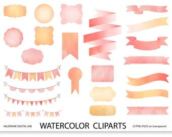 Watercolor ribbons frames and bunting clipart set, pink watercolor, digital frame, digital banner, label - 648