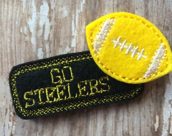 Go Steelers Football Black Yellow Felt Hair Snap Clip Babies, Toddlers, Girls