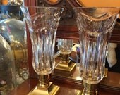 Waterford Crystal Hurricane Candle Lamps Pair