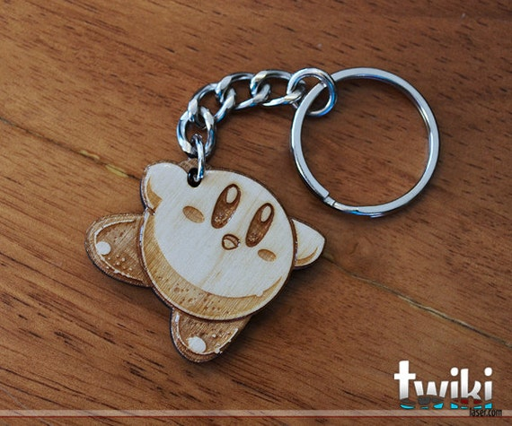 Kirby Keychain OR Kirby Charm Accessory - Wooden Kirby keychain, wooden kirby charm, wood kirby keychain, wood kirby charm, stocking stuffer