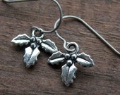 Titanium Holly Earrings, Antiqued Silver Holly Bough Charms on Hypoallergenic Titanium Ear Wires
