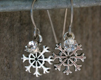 Titanium Snowflake Earrings, Antiqued Silver, Tiny Snowflake withTiny Crystal Charms on Hypoallergenic Titanium Ear Wires