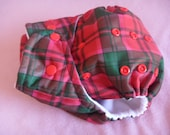 SassyCloth one size pocket diaper with red/green plaid PUL print. Made to order.