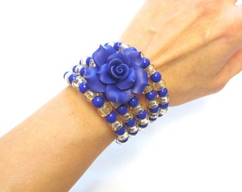 Day Of The Dead Bracelet Wrap Cuff Rose Blue
