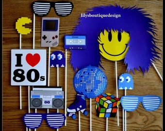 80's Theme Photo Booth Props Set