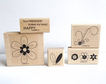 Stampin Up Stamp Set Friendship Blooms, Retired Stamp Set, Rubber Stamps