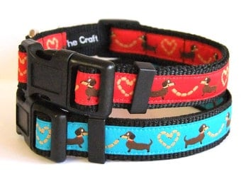 Jacquard Dog Collar - Dachshund Sausage Dog - Small Dogs Blue or Red