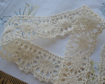 Ecru 100% Cotton Cluny Crochet Lace Trim 2 yard lots 28mm wide picot edge unbleached yardage Made in Poland gorgeous! Antique white