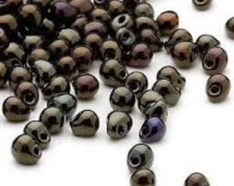 Miyuki Fringe Drop Beads  - Gunmetal Dark Gold - 3.3x2.8mm ( Mini Size ) 10 Grams