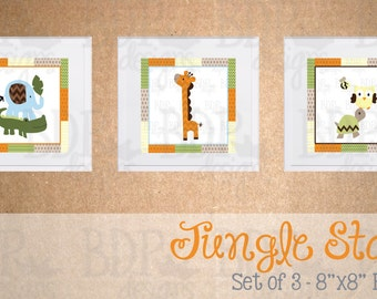 Jungle Stack Nursery Art - Set of 3 Prints