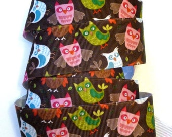 Owl Ribbon, Grosgrain, Brown Pink and Green, Owl Faces, Wide Grosgrain Ribbon, Halloween, 4 YARDS, 1.5 in. wide, Owls, Autumn, CLEARANCE