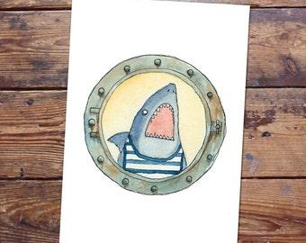 Shark in Vintage Swimsuit Original Painting