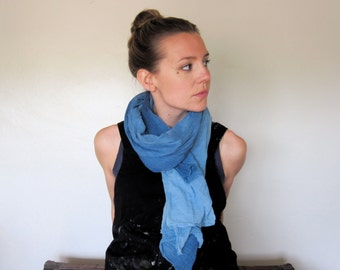 Organic Cotton Scarf Wrap Blanket Natural Dye Indigo Ombre Large Size