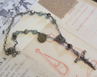 Vintage Religious Assemblage Necklace Catholic Repurposed Rosary Necklace Antique Sterling