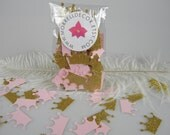 Pink & Gold Party Decorations - Princess Crowns Pink Gold Glitter Confetti Baby Girl First Birthday , Princess Party Bachelorette party