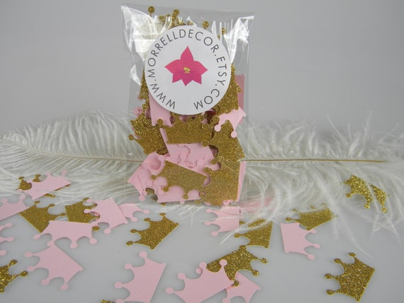 Princess crowns pink gold glitter confetti baby by for Crown decorations home