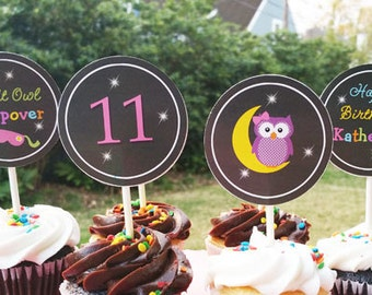 Night Owl Personalized Cupcake Toppers Printable or Assembled - Night Owl Collection