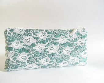 Spring Green Clutch, Farmhouse Wedding, Bridesmaids Gift Bag, Lace Green Clutch for Bride