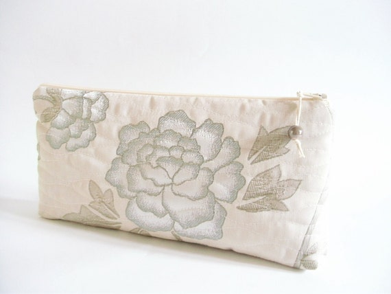Garden Wedding Clutch, Bridesmaid Floral Clutch,  Wedding Party Gift, Evening Cosmetic Bag