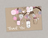 50% OFF Thank You Card, Mason Jar Thank You Card, Baby Shower, Bridal Shower