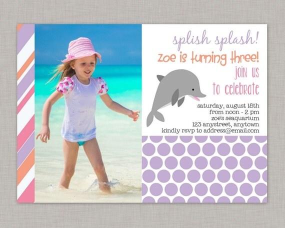 Dolphin Invitation Dolphin Birthday Invitation for girls Dolphin – Dolphin Birthday Invitations