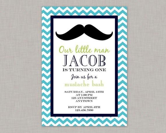 Little Man Invitation, Mustache Bash, Mustache Invitation
