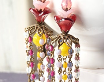 FREE SHIPPING Floral Chandelier Long Earrings - Colorful Glass Beads - Spring Jewelry - Bridemaids Earrings - Gift Ideas - Last Minute Gifts