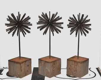 Recycled Metal Sculpture, Tabletop Sculpture, Rustic Metal Sphere, Minimalist Art, Eco-Friendly, Allium, Industrial Art, Atomic Sculpture