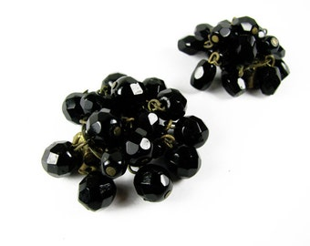 Vintage Cluster Earrings, Clip Ons, Black / Vintage Wedding Jewelry - Boucles d'Oreilles Strass.