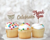 """12 Glitter Wood Toppers-""""Celebrate"""", """"Thank You"""" Cupcake and Cake Glitter Picks for Weddings, Bridal Showers, Birthdays, & All Parties!"""
