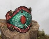 Leaf Aforna, leather wrist cuff with semi-precious gemstone