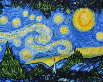 Starry Nights,  Vincent Van Gogh Fabric, Abstract Painting,  Impressionist Art, By the Yard
