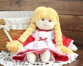 Cloth Doll 13-inch Children's Old Fashioned Annie Rag Doll - Handmade Prairie Doll