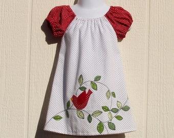 Red Bird Peasant Dress Size 6  Months