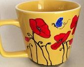 Red Poppies - yellow coffee mug