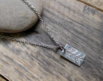 Little Primitive Pine // Fine Silver Pendant // Minimalist // Naturalist // Eco Chic // Sterling Silver Chain // Custom Made