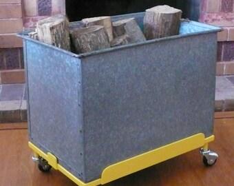 Vintage Meets Modern Industrial - Mobile Galvanized Bin