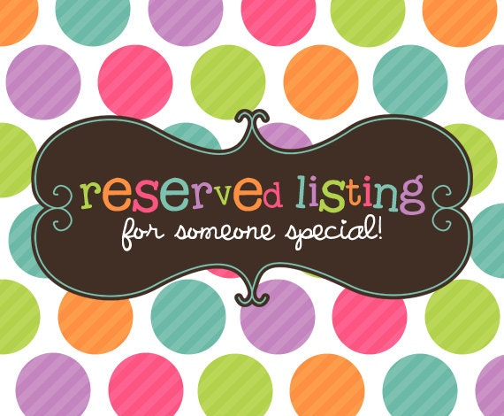 Reserved Listing For RockabyeJoss