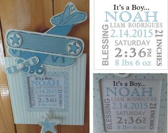 FREE SHIPPING Nursery Birth Announcement Airplane Frame - Nursery Wall Decor - Birth Announcement Frame - Photo Frame - Nursery Frame