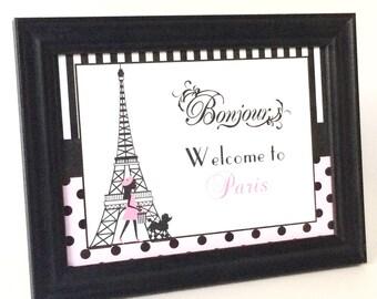 Paris Table Sign, Paris Themed Party, Eiffel Tower Birthday, Paris Party Favor, Parisian Themed Party, Parisian Party Favor, Paris Sign
