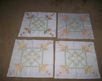 Pastel Hand stitched Cross Stitch Panels 18 inches square