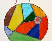 Stained Glass Suncatcher - Abstract Design, Multi Colored Glass, Faceted Glass Jewel
