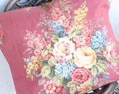 Beautiful Antique Mid 20th C. Floral Cotton Print Fabric Decorative Throw Pillow