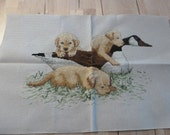 Vintage Cross Stitch Labrador Puppies and a Goose Vintage Home Sewing Supplies Completed Cross Stitch