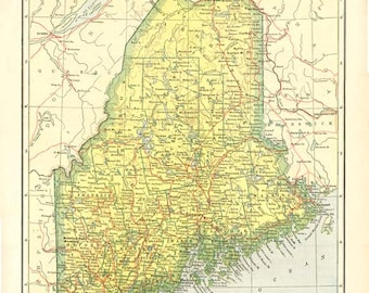 MAINE STATE MAP Vintage Plate from Nelson's Perpetual Loose-Leaf Encyclopedia